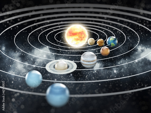 Cuadros en Lienzo Solar system illustration