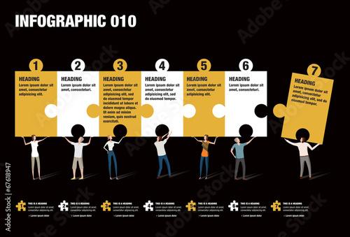 Fotografie, Tablou  Infographic Puzzle