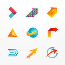 Arrow Logo Design Temlate Icon Set. Collection Of Signs.