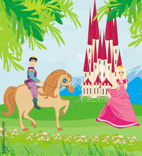 Fotobehang Pony Prince riding a horse to the princess