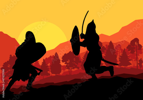 Photo  Medieval warrior, crusader vector background landscape