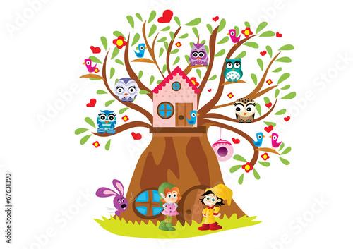 Fotografie, Obraz  drzewo z ptakami