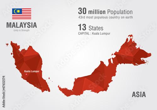 Malaysia world map with a pixel diamond texture. – kaufen Sie diese ...