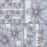Patchwork seamless grey retro pattern with flowers