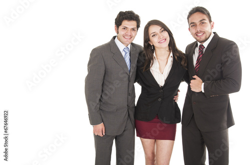 Fotografia  two young men and a beautiful girl dressed in suits