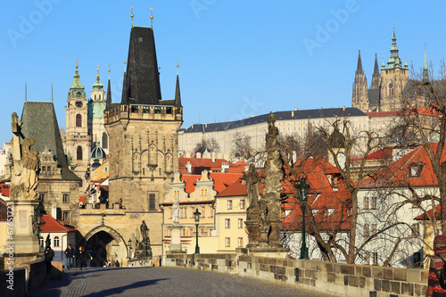Acrylic Prints Prague Prague Castle with St. Nicholas' Cathedral from Charles Bridge