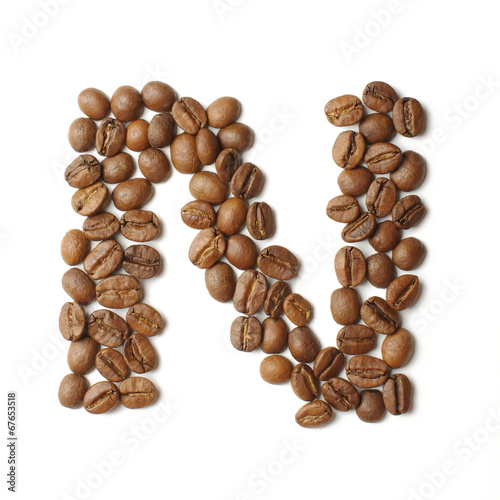 Canvas Prints Coffee beans Letter N arranged from coffee beans isolated