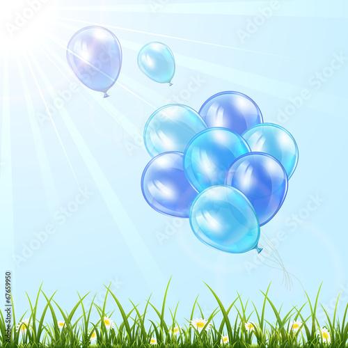 Foto op Plexiglas Groene Blue balloons in the sky