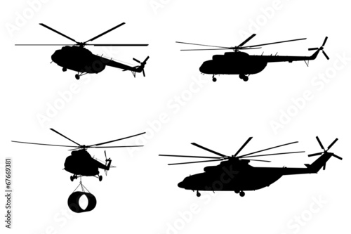 Fotografie, Obraz  Helicopter of set silhouette.