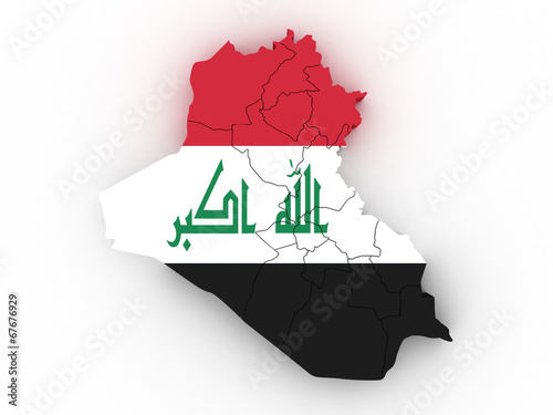 Fotografija  3d Iraq administrative map with flag