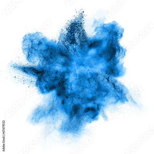 Valokuva blue powder explosion isolated on white