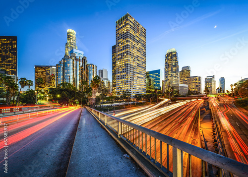 Downtown Los Angeles, California, USA over Highways Wallpaper Mural