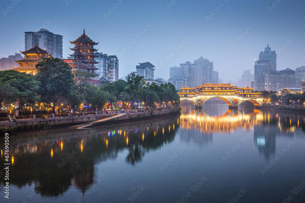 Fototapeta Chengdu, China On the Jin River