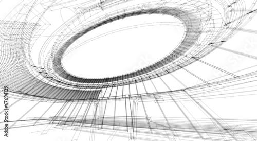 Foto op Plexiglas Stadion Perspective 3D render of building wireframe