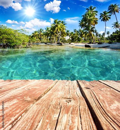Foto-Kissen - Bootssteg vor karibischem Traumstrand :)