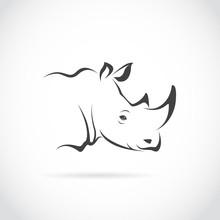 Vector Of Rhino Head On White Background. Animal. Easy Editable Layered Vector Illustration.