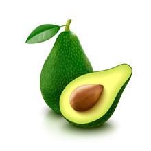 Avocado With Slice On White Ba...