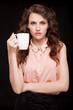 Coffee. Beautiful Girl Drinking Tea or Coffee. Beauty Woman