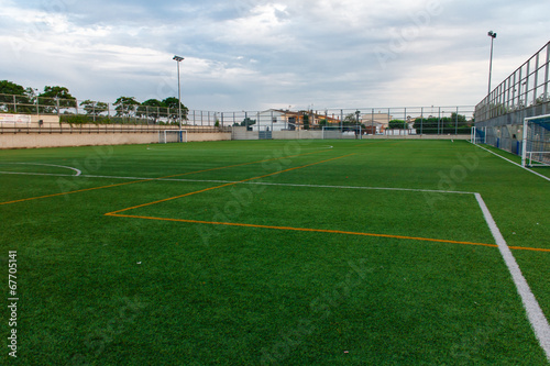 Foto op Plexiglas Stadion football amateur stadium with green grass