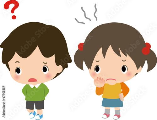 Fotografie, Obraz  警戒心を表す男の子と女の子