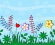 Children with applique flowers