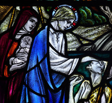 Wonder Of Jesus: Healing The Blind In Stained Glass