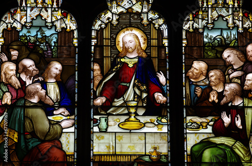 Obraz na plátně  The last supper in stained glass