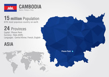 Cambodia World Map With A Pixe...
