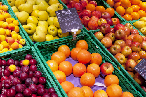 Fruits stall in La Boqueria, the most famous market in Barcelona Canvas Print