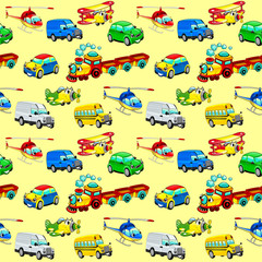 Naklejka Funny vehicles with background.