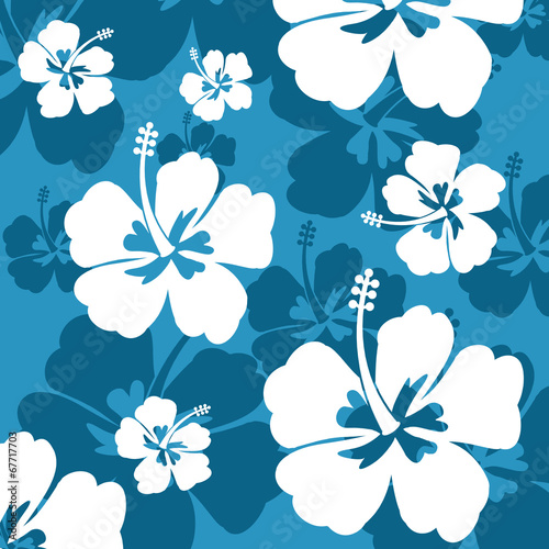 Cotton fabric Seamless pattern with Hibiscus flower