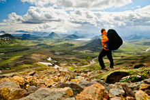 Hiking In The Incredible Wild Landscape In Iceland