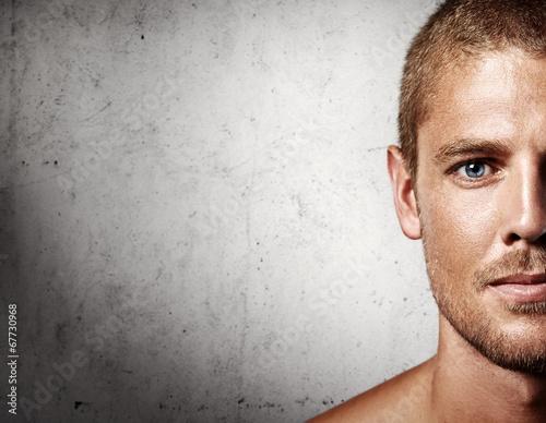 Plakat portret przystojny młody człowiek