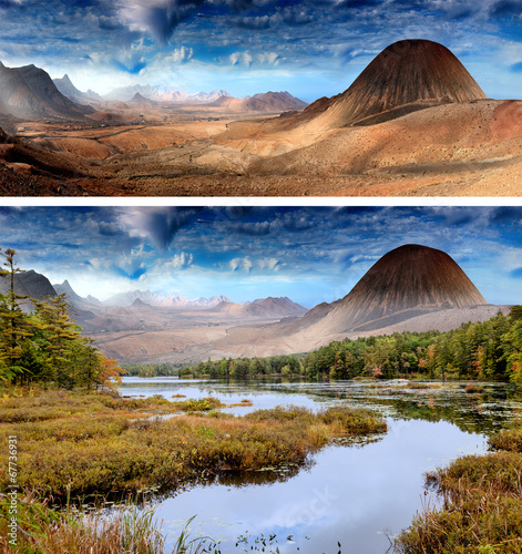 Photo Stands Fantasy Landscape landscape with lake and mountains