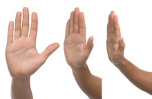 Stop. Three Different Male Hand Signs Isolated