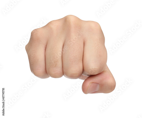 Fototapeta Hand signs. Punch fist isolated on white background