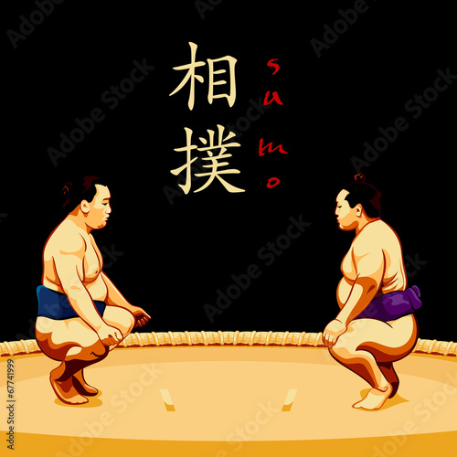 Láminas  Sumo wrestlers ready to fight