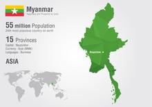 Myanmar World Map With A Pixel Diamond Texture. Burma Map.