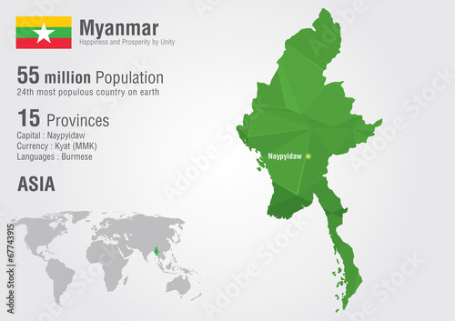 Photo  Myanmar world map with a pixel diamond texture. Burma map.