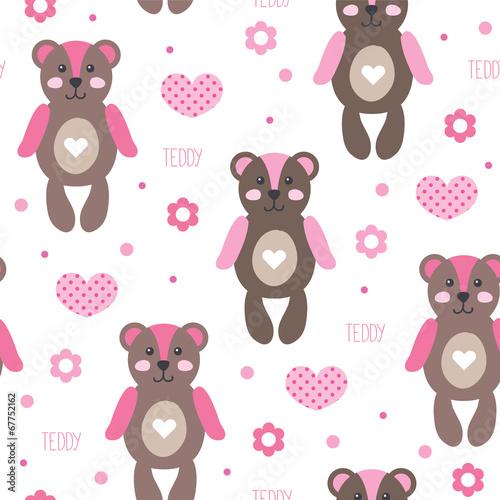 Fototapeta cute and happy bear teddy pattern vector illustration