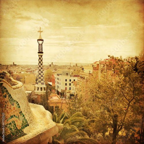 View of Barcelona from Park Guell in grunge and retro style. Canvas Print