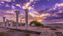 Ancient Columns At Sunset