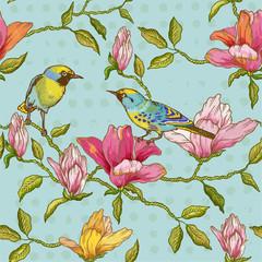 FototapetaVintage Seamless Background - Flowers and Birds