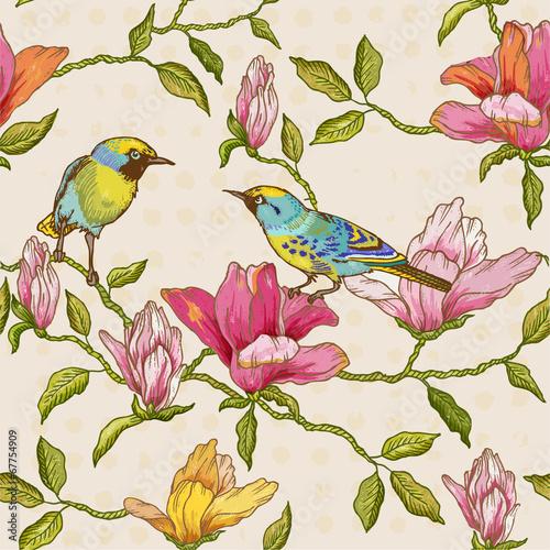 vintage-bezszwowe-tlo-kwiaty-i-ptaki