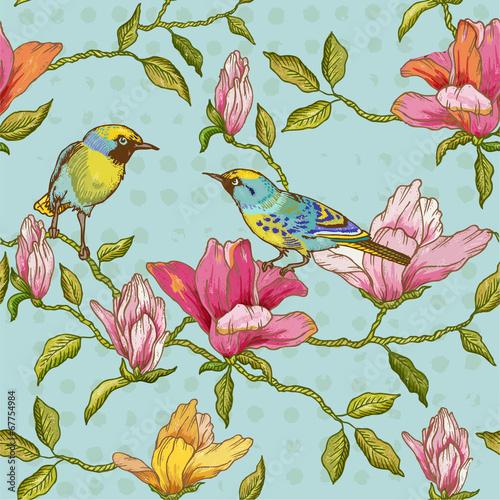 plakat Vintage szwu tła - kwiaty i ptaki