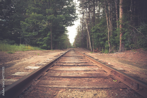 Tuinposter Retro Retro toned rural railroad tracks