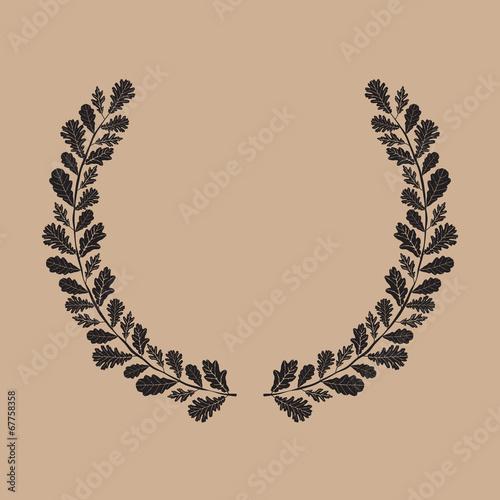 silhouette of laurel wreath oak leaf vector illustration buy