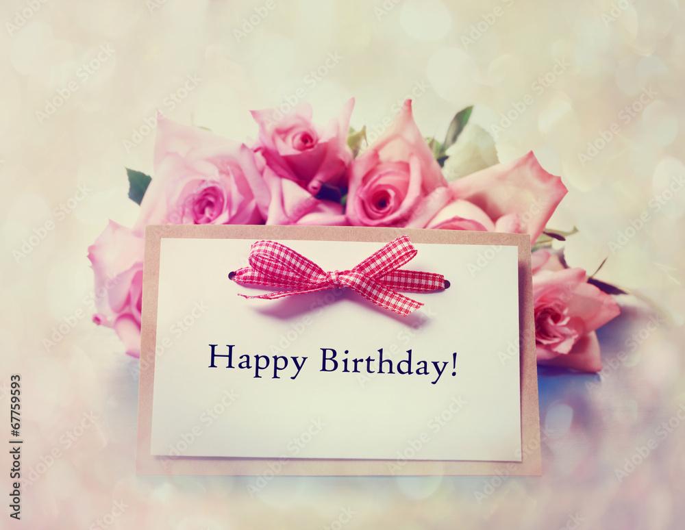 všechno nejlepší k narozeninám Fotografie, Obraz Všechno nejlepší k narozeninám karta s retro  všechno nejlepší k narozeninám