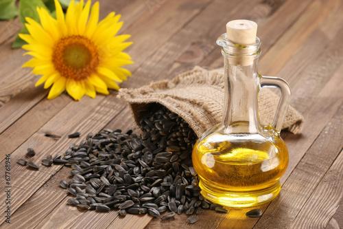 Fototapeta sunflower oil, seed and sunflower obraz