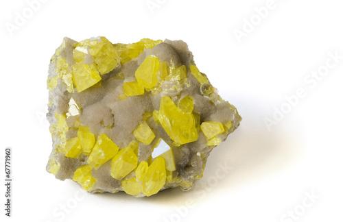 Yellow sulphur on aragonite from Sicily. 14cm across. Canvas Print